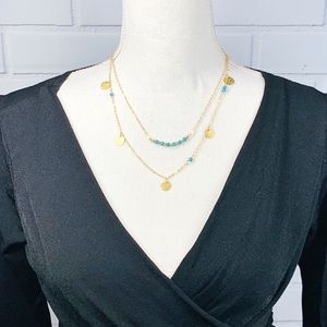 Jewelry - Gold & Turquoise Dainty Multistrand Necklace